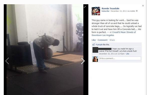 Homeless Man Struggling to Lift an Atlas Stone