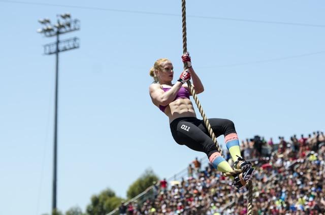 Annie Thorisdottir during the Rope Climb