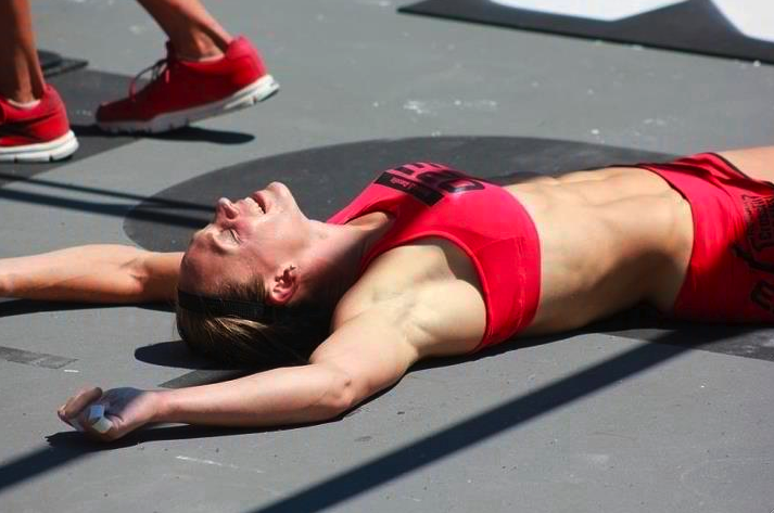 Talayna Fortunato Collapses After Completing Fran (Image courtesy of CrossFit.com)