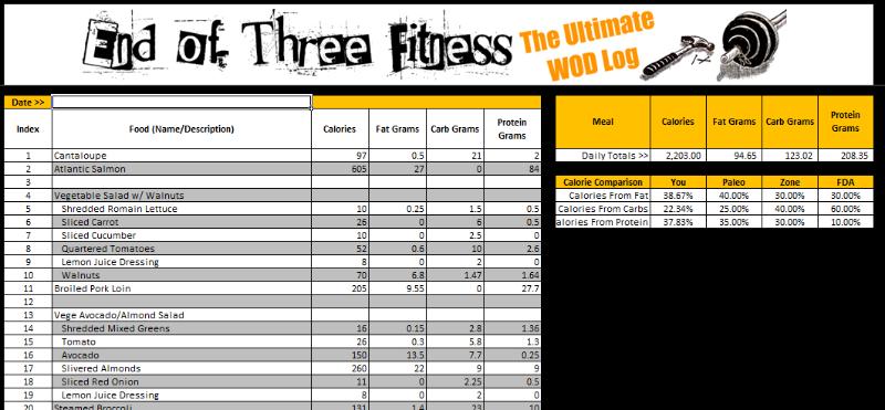 crossfit workout log excel spreadsheet